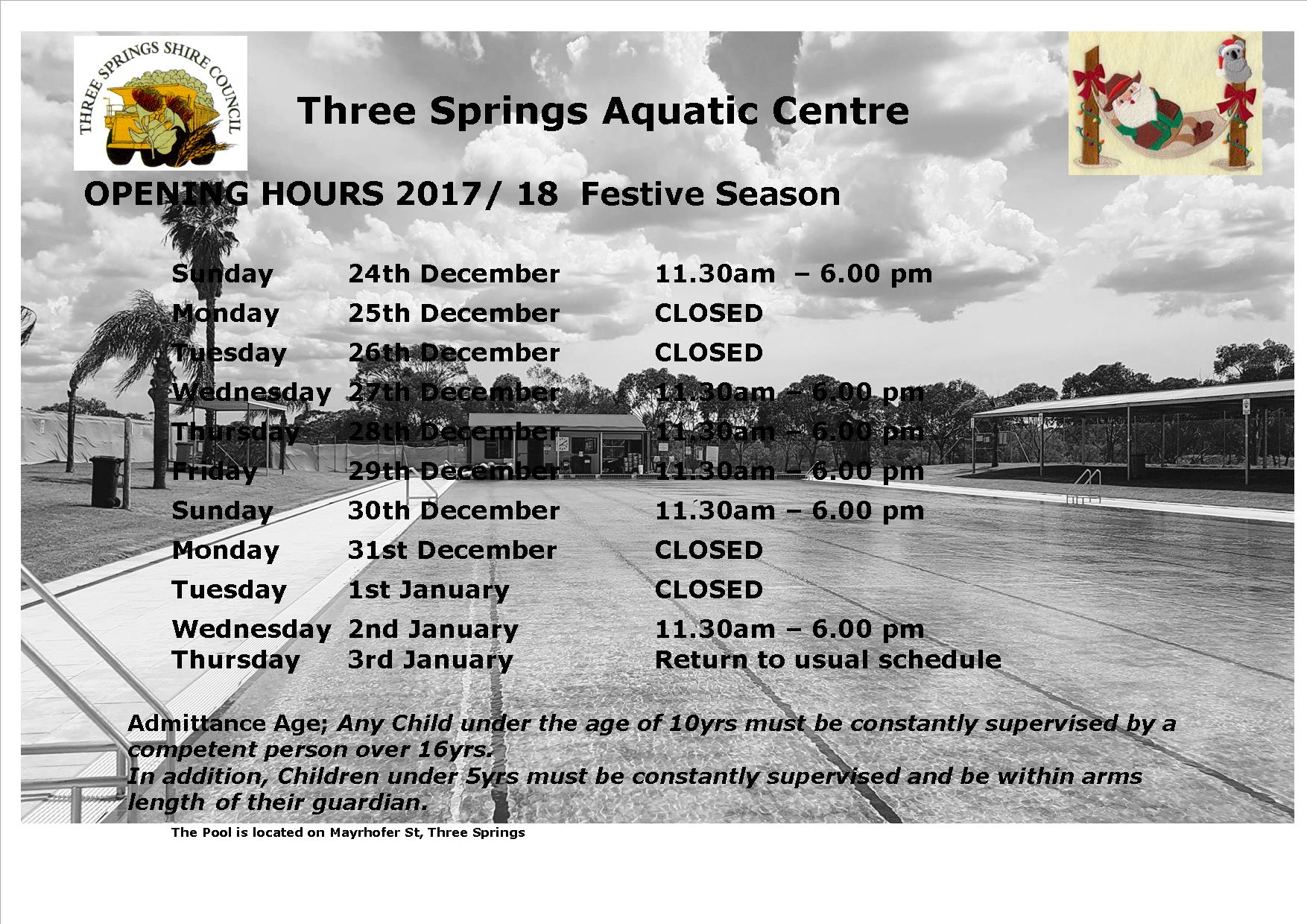 Pool Opening hours Festive Season 2017 18